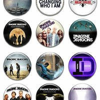 "Set of 12 New Imagine Dragons 1.25"" Pinback Button Badge Pin"