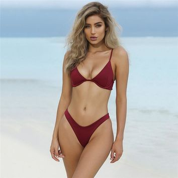 2018 Hot Low Waist Bikini Push Up Swimwear Female Bathing Suit Set Women Brazilian Bikini Thong Swimsuit Swimming Suit For Women
