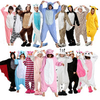 Winter Unisex Adult Pajamas Cosplay Costume Animal Onesuit Sleepwear Stitch Zebra Panda Totoro Bear Bat Unicorn Tenma Pig Pikachu