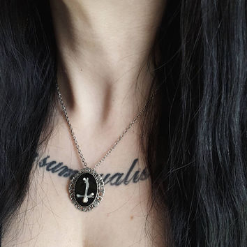 inverted cross, mouse bones, satanic jewelry, hail satan, occult ritual, occult jewelry, witchy necklace, witchcraft, pagan necklace, ritual