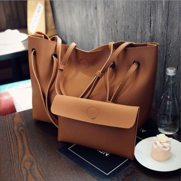 Brown Leather 2PCS Crossbody Shoulder Handbag