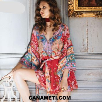 Floral Printed Kimono Romper Casual Beach Women Playsuits 2018 Summer Hippie Chic Boho Romper Back Cutout Sexy Jumpsuits