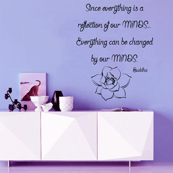Lotus Wall Decal Quote Buddha Everything Can Be Changed Home Art Mural Vinyl Stickers Bedroom Decor Living Room Design Interior KI61