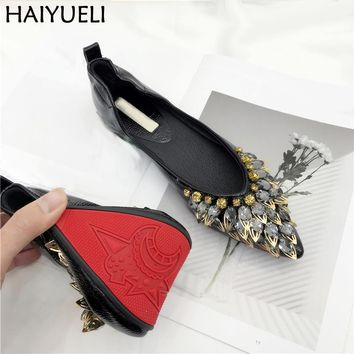 Womens Spring Shoes Ladies Pointed Toe Flat Shoes Fashion Beaded Rhinestone  Women Casual Loafers Fold Up Women Flats