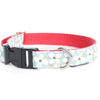 Dog Collar - White Daisies on Blue Cotton