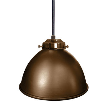 "Factory 7 1/16"" Metal Shade Pendant Light- Bronze"