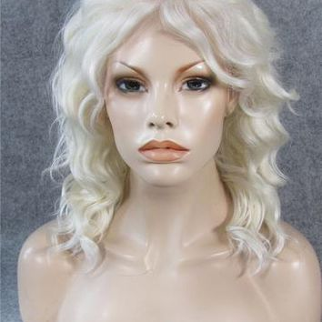 Light Blonde White Wave Bob Synthetic Lace Front Wig