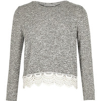 Girls grey lace hem top