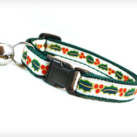 "Holiday Cat Collar - ""Sleigh Ride"" - Holly Garland Laced w/ Gold on White Satin"