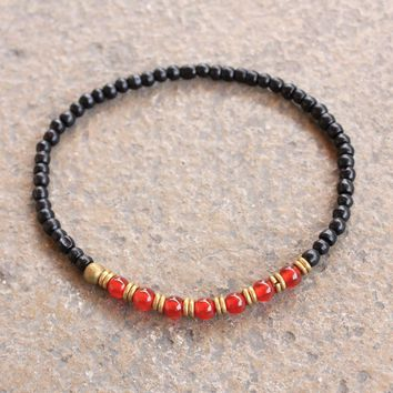 Ebony and Carnelian Gemstone Mala Bracelet with African Trade Beads