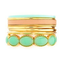 STONE, METAL, & LEATHER BANGLE SET