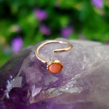 Pink Coral Nose Ring Hoop/Tragus/Cartilage Earring 14K Rose Gold Filled Handcrafted 3mm Stone 7mm Inner Diameter