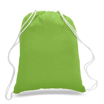 (12 Pack) 1 Dozen - Durable Cotton Drawstring Tote Bags (Lime)
