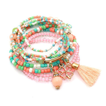 Brand Multilayer 9pcs/set Seed Beads Tassel Clover Bracelets & Bangles Strand Stretch