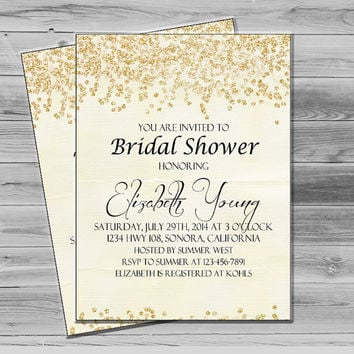 Bridal Shower Invites, Rustic Invitation Gold Glitter Sparkle Printable, Chic Invitation JPEG Custom