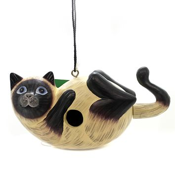 Home & Garden SIAMESE CAT ON BACK BIRDHOUSE Albesia Wood Hand Painted Se3880195