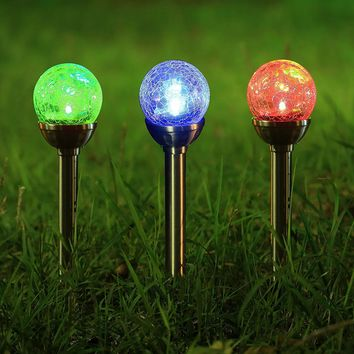 Twinkle Star Solar Pathway Lights Christmas Lights Crackle Glass Globe Solar lights Outdoor Color Changing Stainless Steel Solar Garden Lights, Set of 3