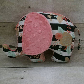 Floral stripes baby elephant plush - modern coral, mint, gold watermelon elephant stuff animal - elephant nursery decor - elephant baby girl