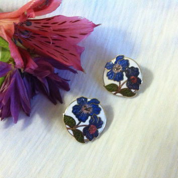 Purple Flowered Cloisonne Earrings Vintage Clip On Style Green Pink White Purple Floral Cloisonne Lovers Collectors Jewelry Upcycle Project