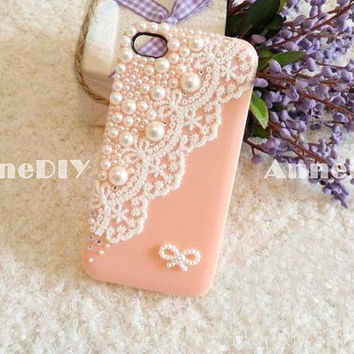 lace iPhone cover, cute mini bowknot iPhone 5 case, iPhone 5 cover with pearl, iPhone 4s case, handmade iPhone 4 cases