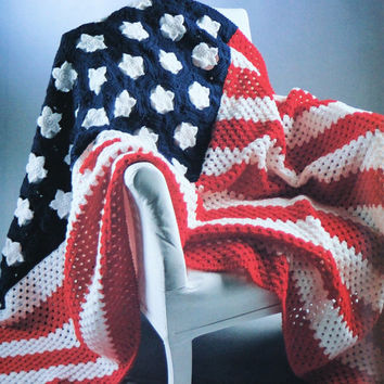 USA Flag Blanket patriotic Blanket pattern PDF Instant Download Afghan crochet blanket knitting supplies epsteam knitting pattern decor