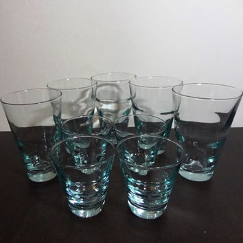 Vintage Libbey Aqua Blue Saturn Optic Ripple Or Wave Tumbler/Cocktail/Juice Glasses Set of 5 Large and 4 Small Glasses