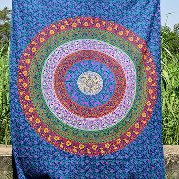 Indian Mandala Hippie Tapestry Bohemian Mandala Wall Hanging Twin Cover Bedspread Bedding Throw Ethnic Home Decorative Art