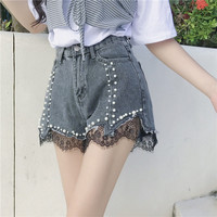 Buy Little Bean Distressed Beaded Lace Panel Denim Shorts | YesStyle