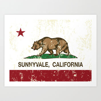Sunnyvale California Republic Flag Distressed Art Print by NorCal