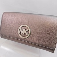 Michael Kors Fulton Flap Gunmetal/Silver Carry All Leather Wallet
