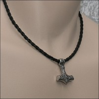 Beautifully Sculptured Small Mjolnir Thors Hammer on Viking Braid Leather Necklace