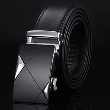 Genuine Cowskin Mens Leather Belt with Automatic Buckle
