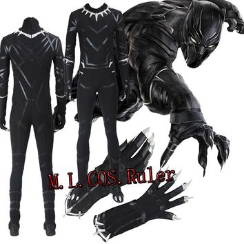 Black Panther From Captain America 2 T'Challa Cosplay Costume Outfit Halloween Jumpsuit Gloves Boots Custom Made Free Shipping