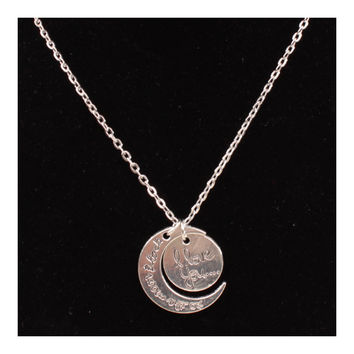 X329 love Valentine's Day love couple of European and American moon necklace ebay jewelry supply   I LOVE U SILVER