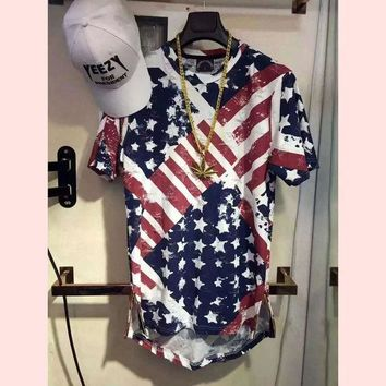 LMF9GW High quality hip hop popular T shirt American flag justin bieber men Hollow holes Golden side zipper T-shirt clothing