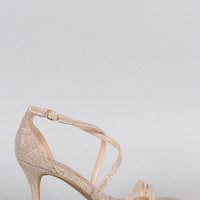 Bamboo Glitter Strappy Crisscross Single Sole Heel