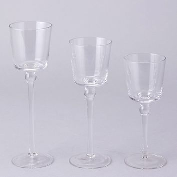 "Set of 3 Clear Glass Candle Holders - 7.5-10"" Tall"