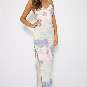 Making Moves Dress - Sleeveless Pastel Floral Print Maxi Dress with Side Splits