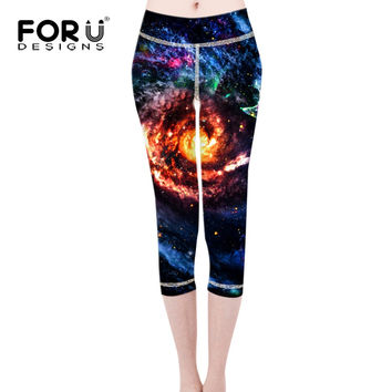 FORUDESIGNS Leggings Pants Capri Women Leggings Jeggings Pants Spandex Lacina Galaxy Space Punk Rock Legging Feminino Ropa Mujer