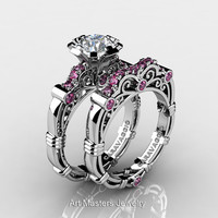 Art Masters Caravaggio 10K White Gold 1.0 Ct White and Pink Sapphire Engagement Ring Wedding Band Set R623S-10KWGPWS