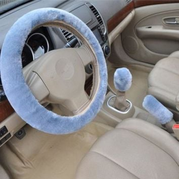 blue 3pcs artificial wool plush car cover steering wheel cover plush set handbrake cover car imitation fur steering wheel set gift winter autumn warm 2