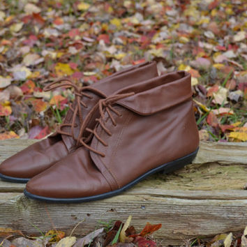 Vintage Brown Ankle Boots Leather Boots Women's Brown Boots Ankle Boots Granny Boots Size 8.5 M