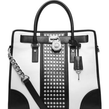 MICHAEL Michael Kors Hamilton Center-Stripe Studded Tote