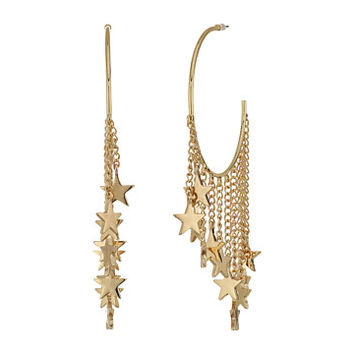 Steve Madden Dangling Star Charm Hoop Earrings Gold - Zappos.com Free Shipping BOTH Ways