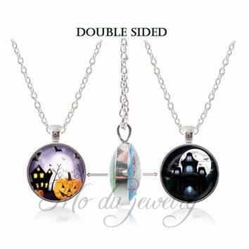 Halloween Dark Castle Pendant Bat Jewelry Orange Pumpkin Lantern Necklace Glass Dome Pendants Double Side Necklaces