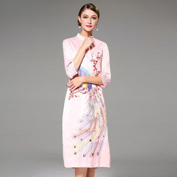 Embroidery Heavy Work Autumn Slim One Piece Dress [288439435305]