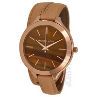 Michael Kors Slimway Brown Dial Tan Leather Ladies Watch MK2328