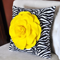 Bright Yellow Rose on Zebra Pillow 14x14 by bedbuggs on Etsy