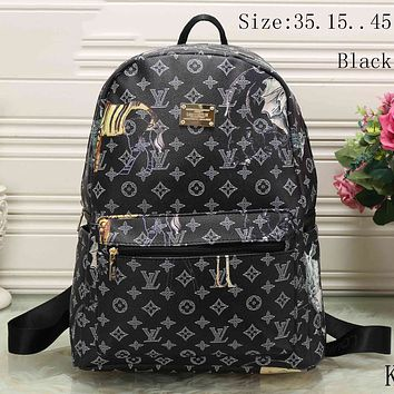 LV fashion trendy men and women backpack F-KSPJ-BBDL Black