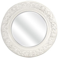 Baroque Round White Mirror